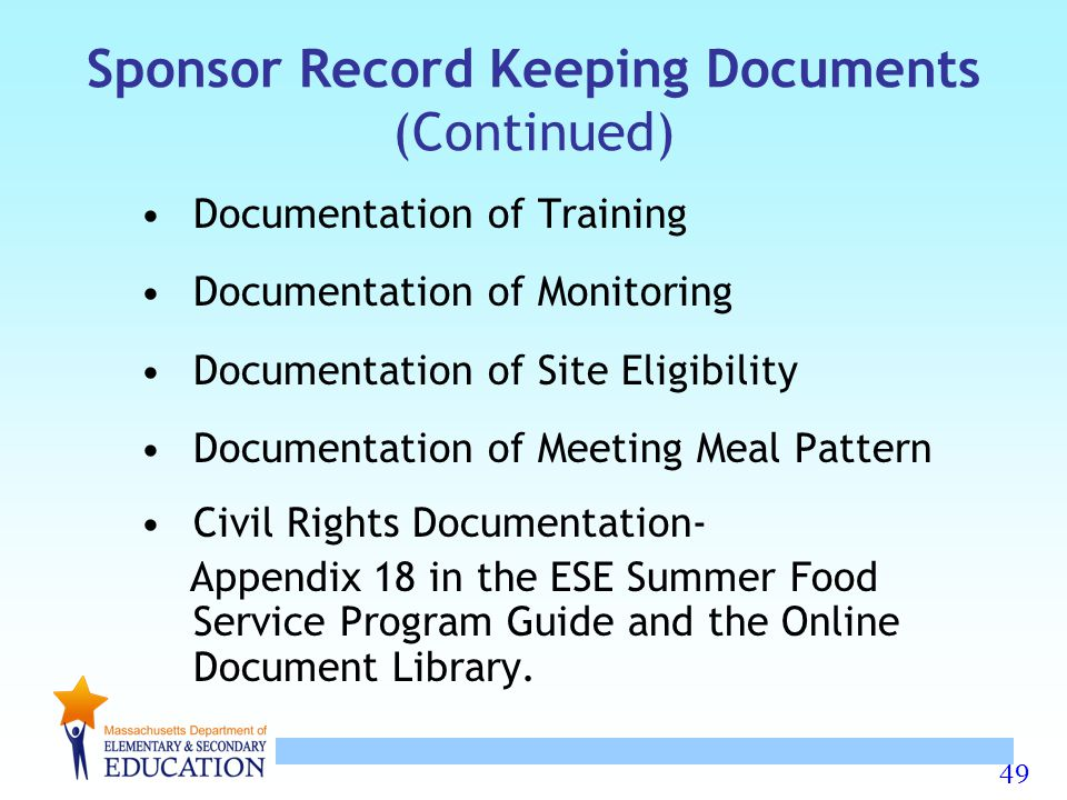Sponsor Record Keeping Documents (Continued)
