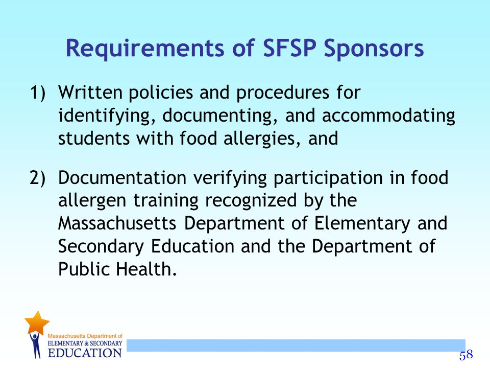Requirements of SFSP Sponsors