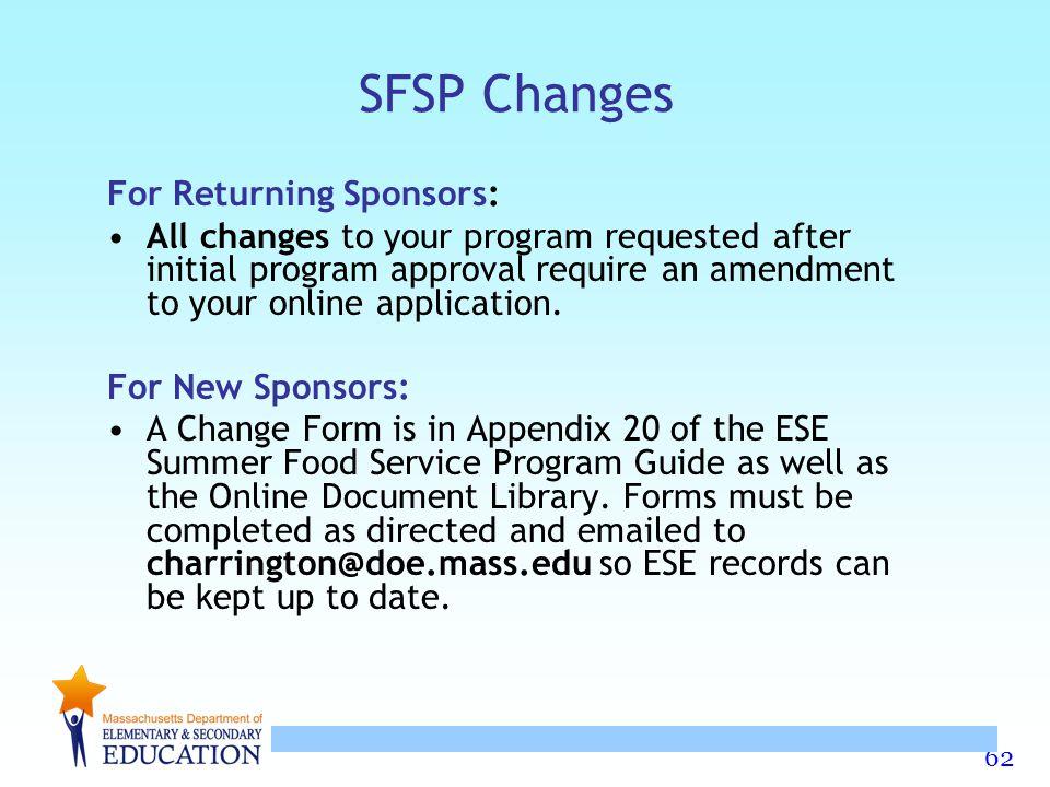 SFSP Changes For Returning Sponsors: