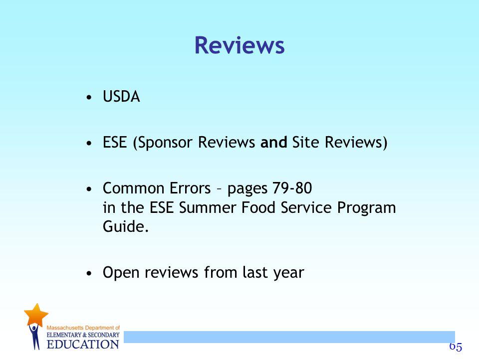 Reviews USDA ESE (Sponsor Reviews and Site Reviews)