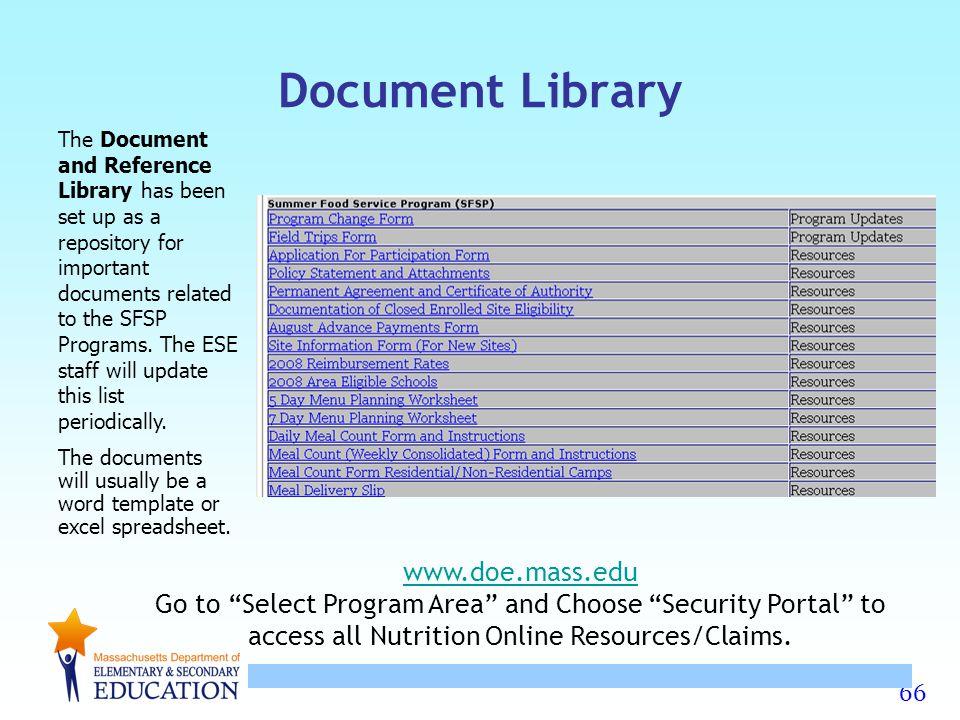 Document Library www.doe.mass.edu