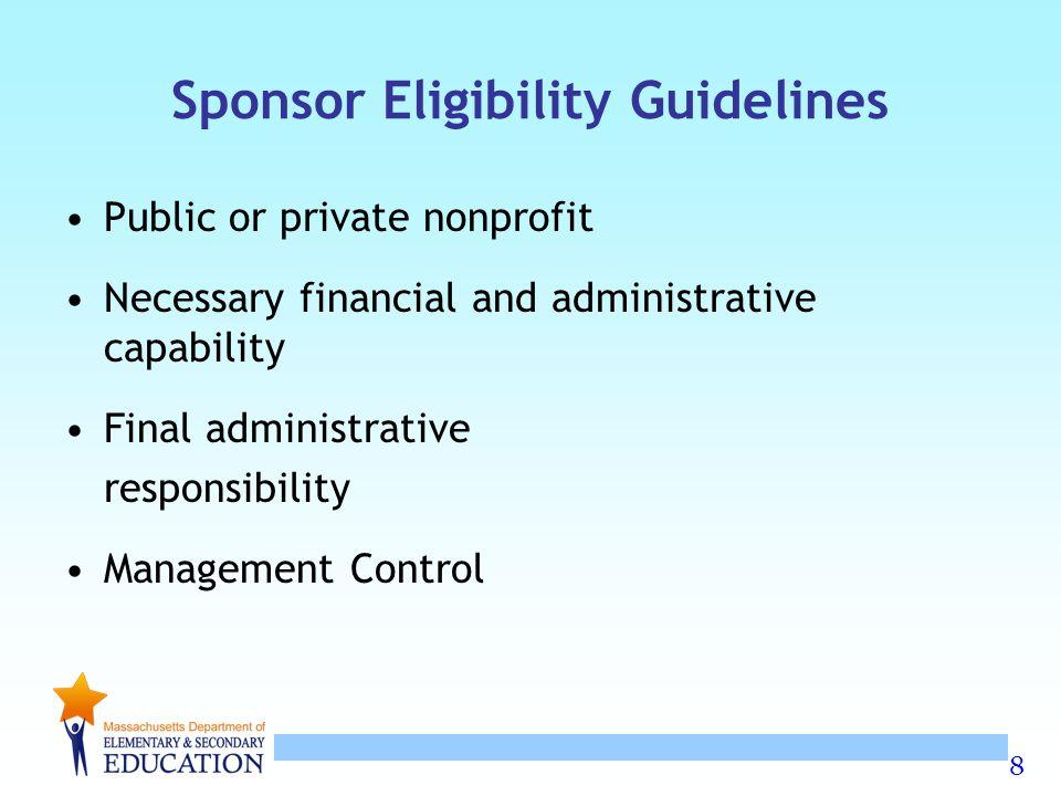 Sponsor Eligibility Guidelines