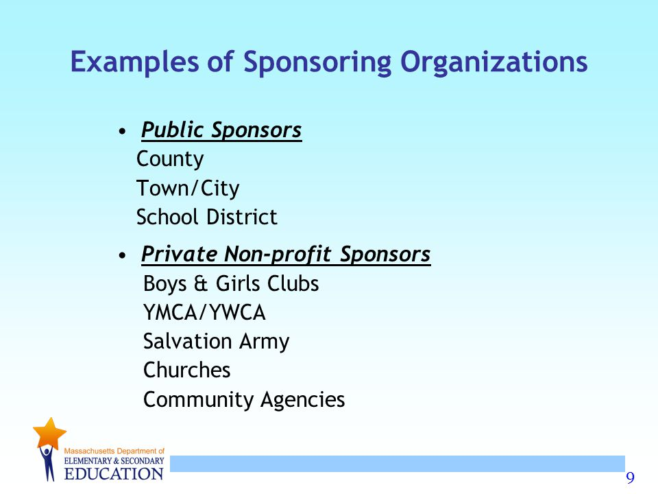 Examples of Sponsoring Organizations