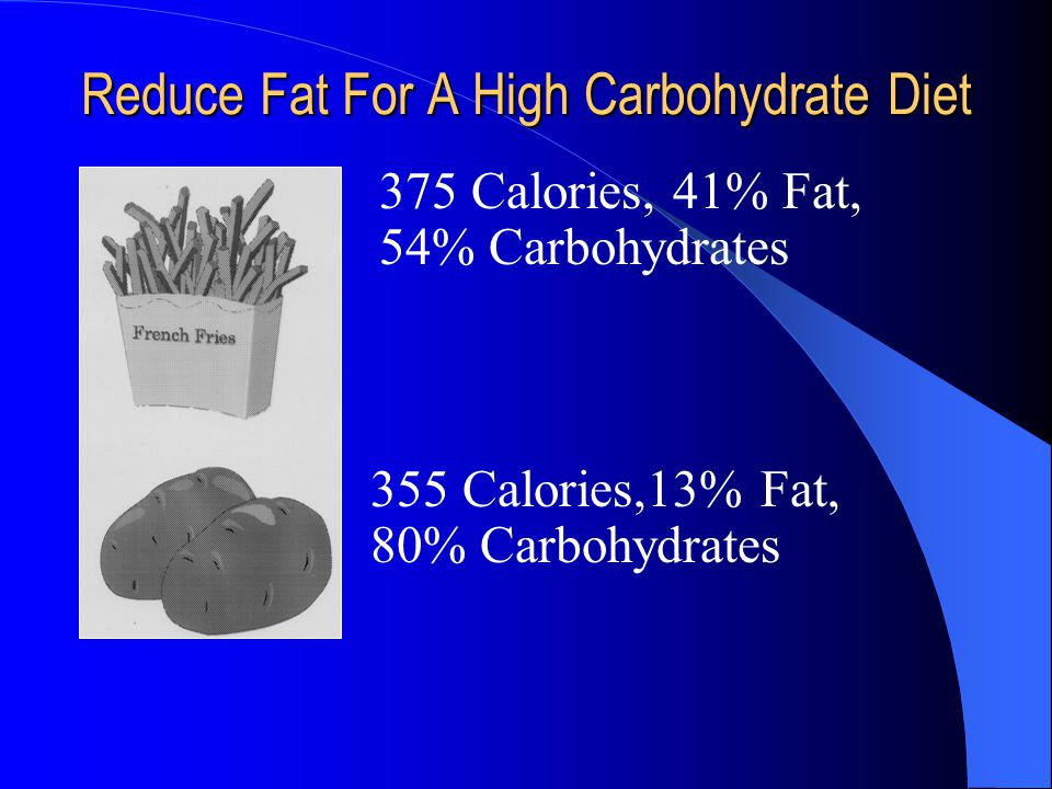 Reduce Fat For A High Carbohydrate Diet