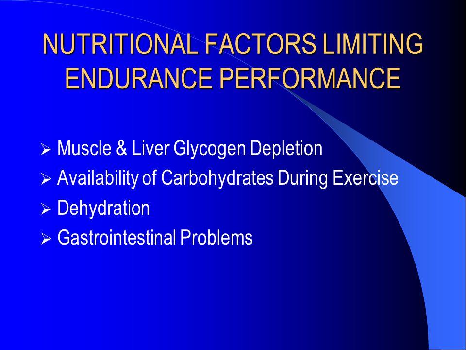 NUTRITIONAL FACTORS LIMITING ENDURANCE PERFORMANCE