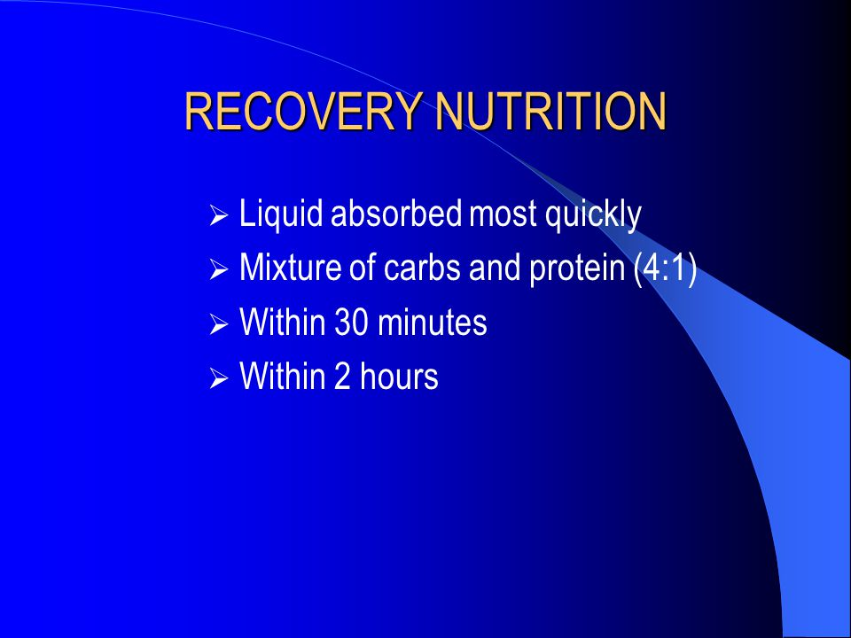 RECOVERY NUTRITION Liquid absorbed most quickly