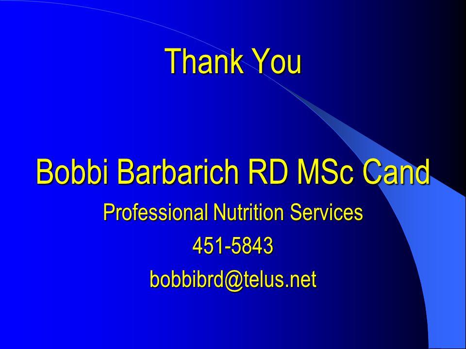 Bobbi Barbarich RD MSc Cand