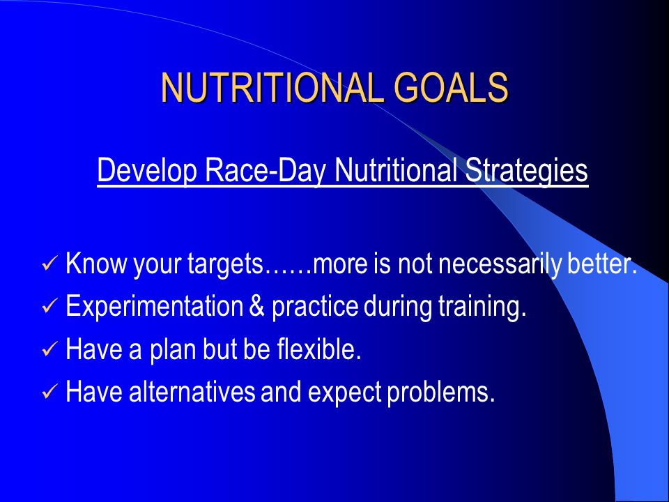 Develop Race-Day Nutritional Strategies