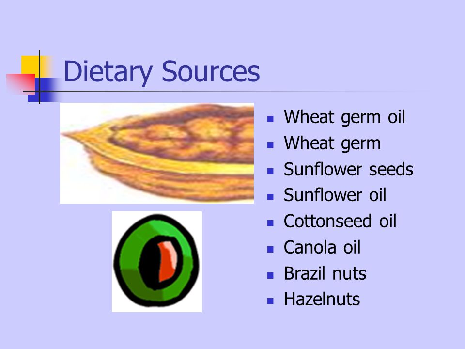 Dietary Sources Wheat germ oil Wheat germ Sunflower seeds