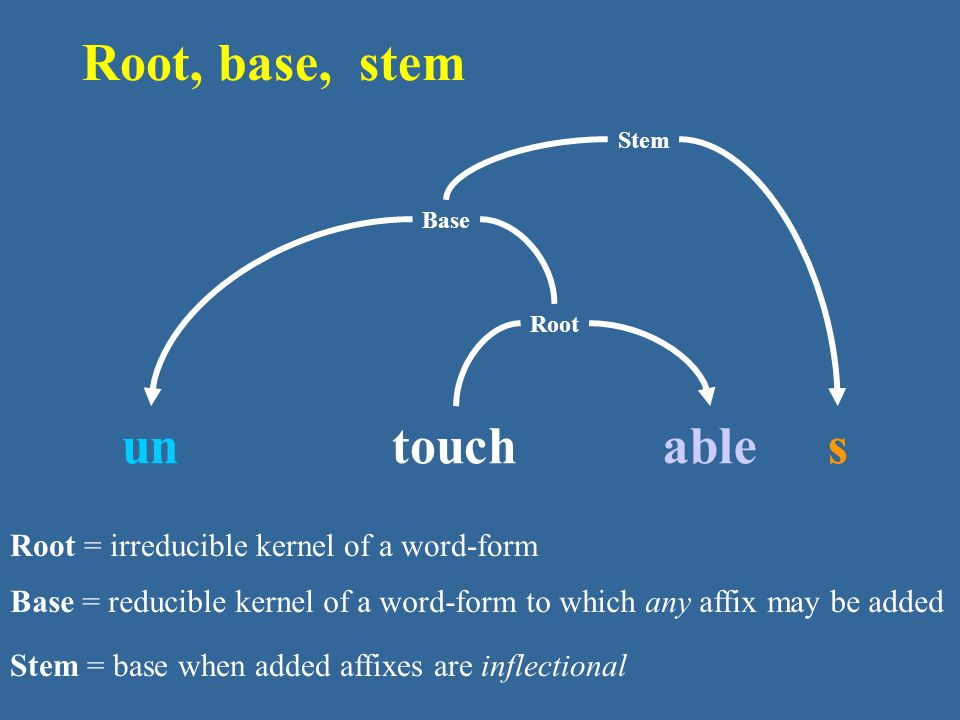 Root, base, stem un s able touch
