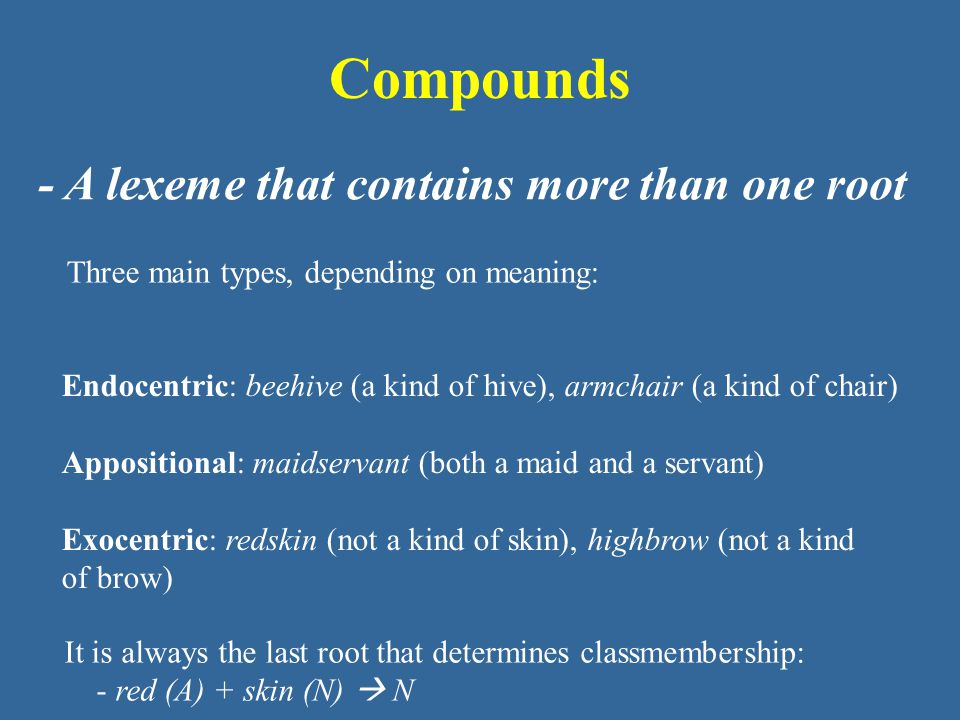 Compounds - A lexeme that contains more than one root