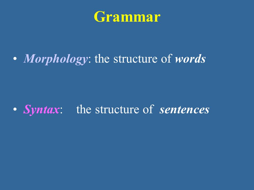 Grammar Morphology: the structure of words