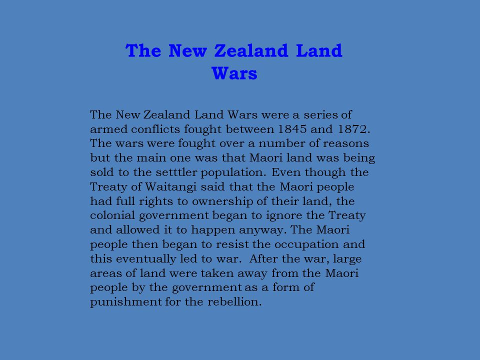The New Zealand Land Wars