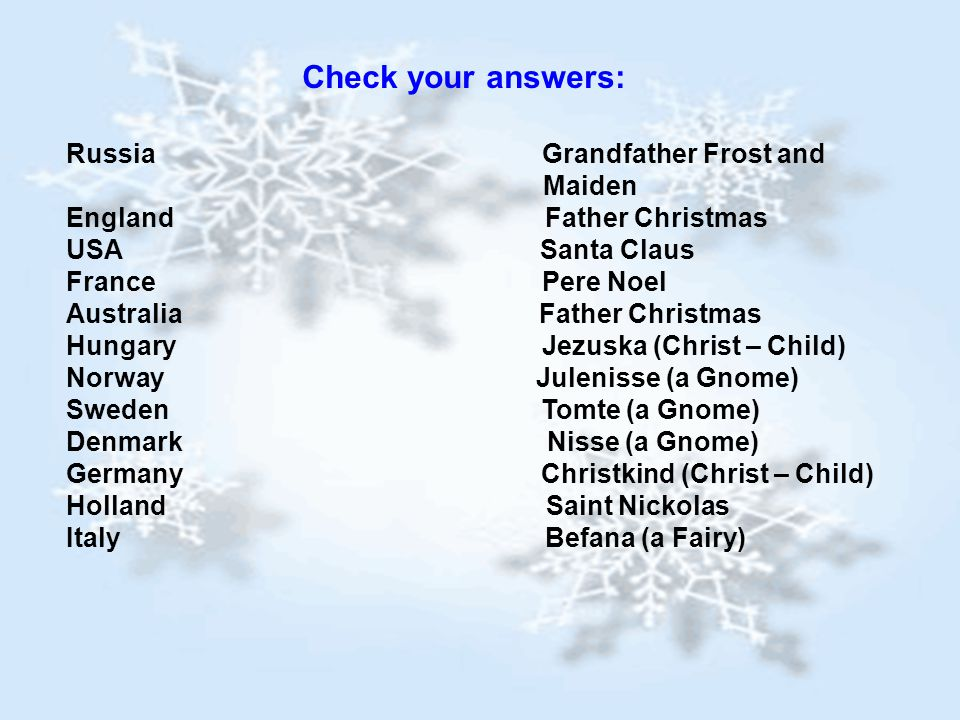 Check your answers: Russia Grandfather Frost and Maiden