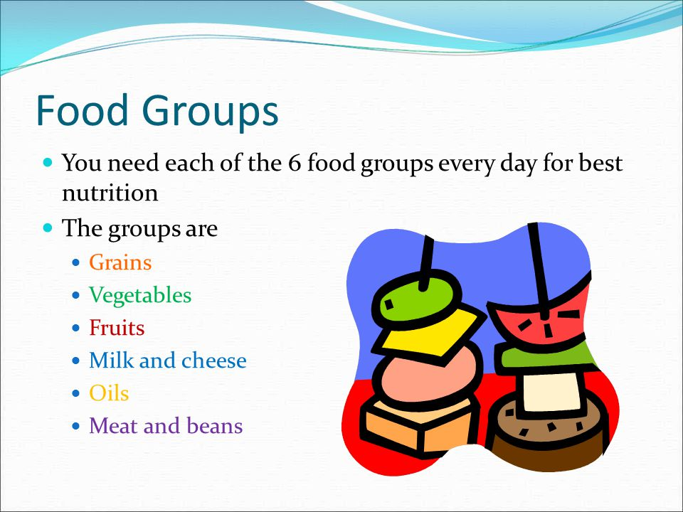 Food Groups You need each of the 6 food groups every day for best nutrition. The groups are. Grains.