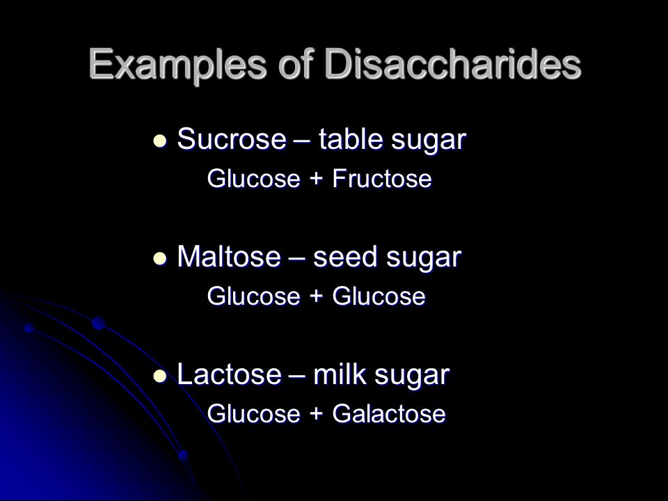 Examples of Disaccharides