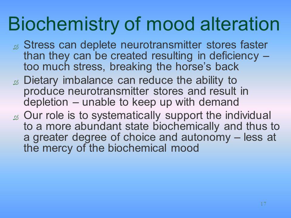 Biochemistry of mood alteration