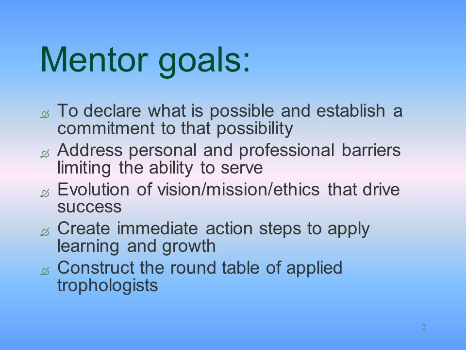 Mentor goals: To declare what is possible and establish a commitment to that possibility.