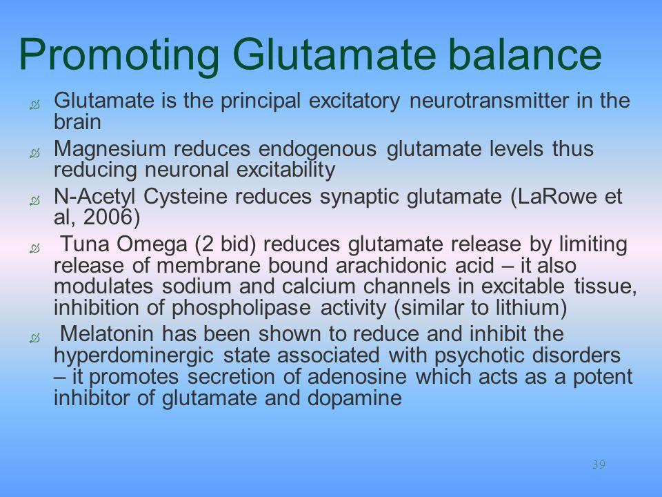 Promoting Glutamate balance