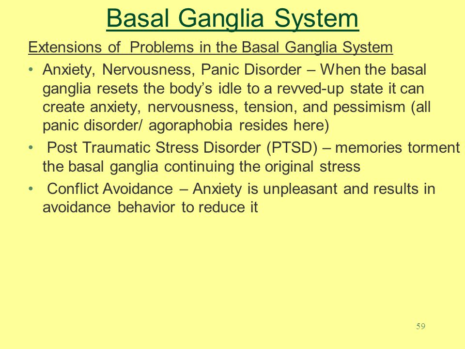 Basal Ganglia System Extensions of Problems in the Basal Ganglia System.