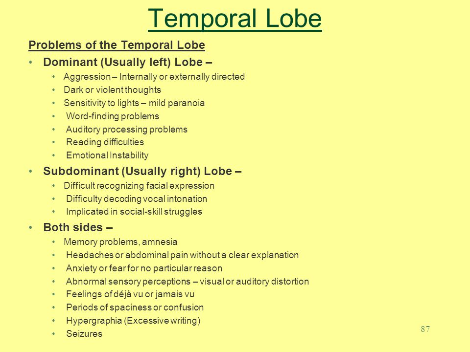 Temporal Lobe Problems of the Temporal Lobe