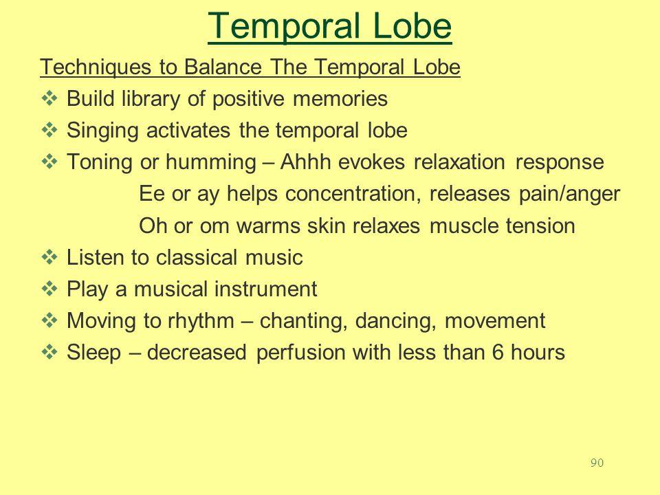 Temporal Lobe Techniques to Balance The Temporal Lobe