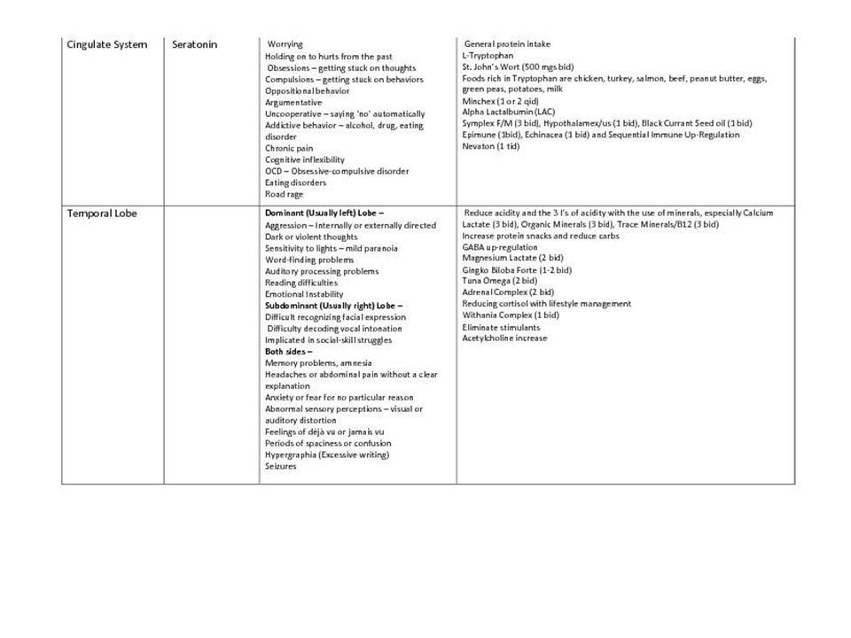 Brain System Chart