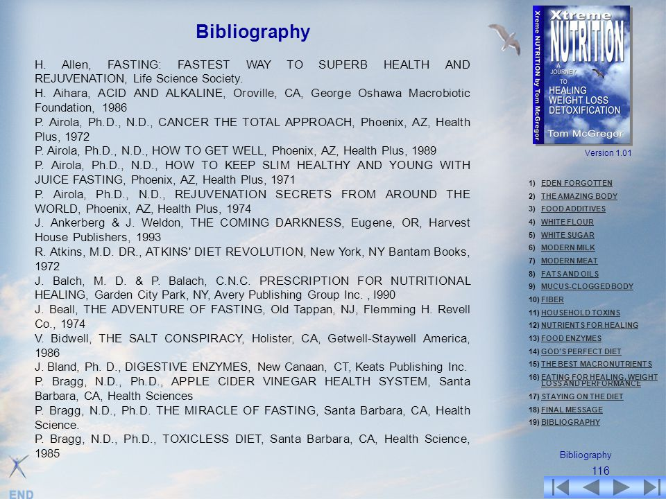 Bibliography H. Allen, FASTING: FASTEST WAY TO SUPERB HEALTH AND REJUVENATION, Life Science Society.
