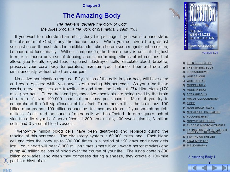 Chapter 2 The Amazing Body. The heavens declare the glory of God; the skies proclaim the work of his hands. Psalm 19:1.