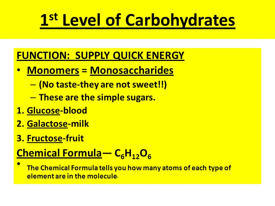 1st Level of Carbohydrates