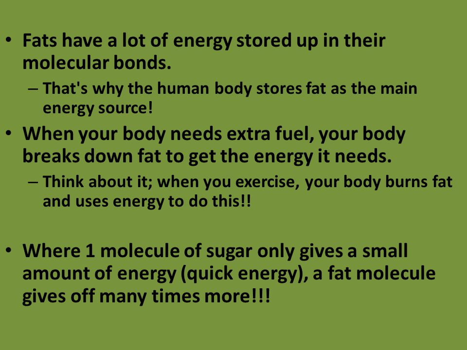 Fats have a lot of energy stored up in their molecular bonds.