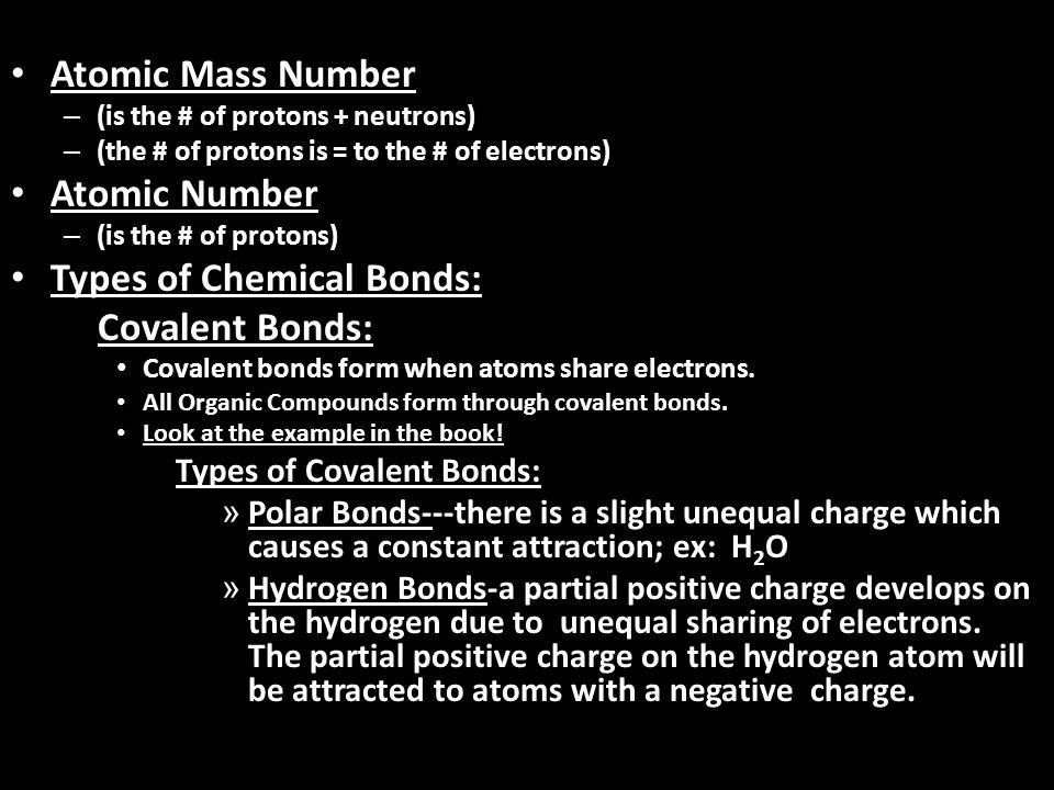 Types of Chemical Bonds: