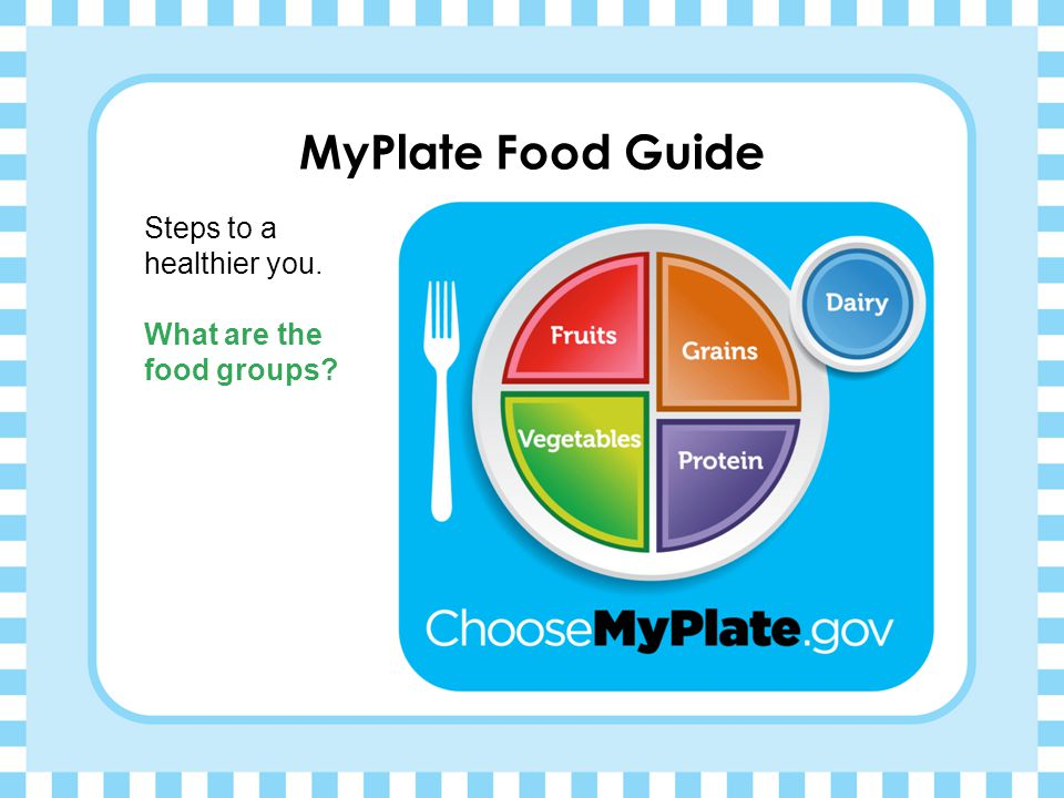 MyPlate Food Guide Steps to a healthier you. What are the food groups