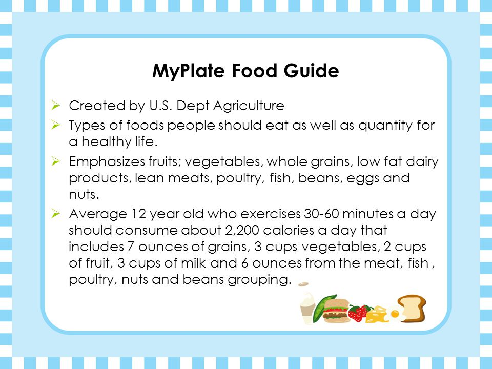 MyPlate Food Guide Created by U.S. Dept Agriculture