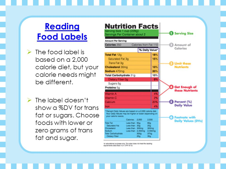 Reading Food Labels The food label is based on a 2,000 calorie diet, but your calorie needs might be different.