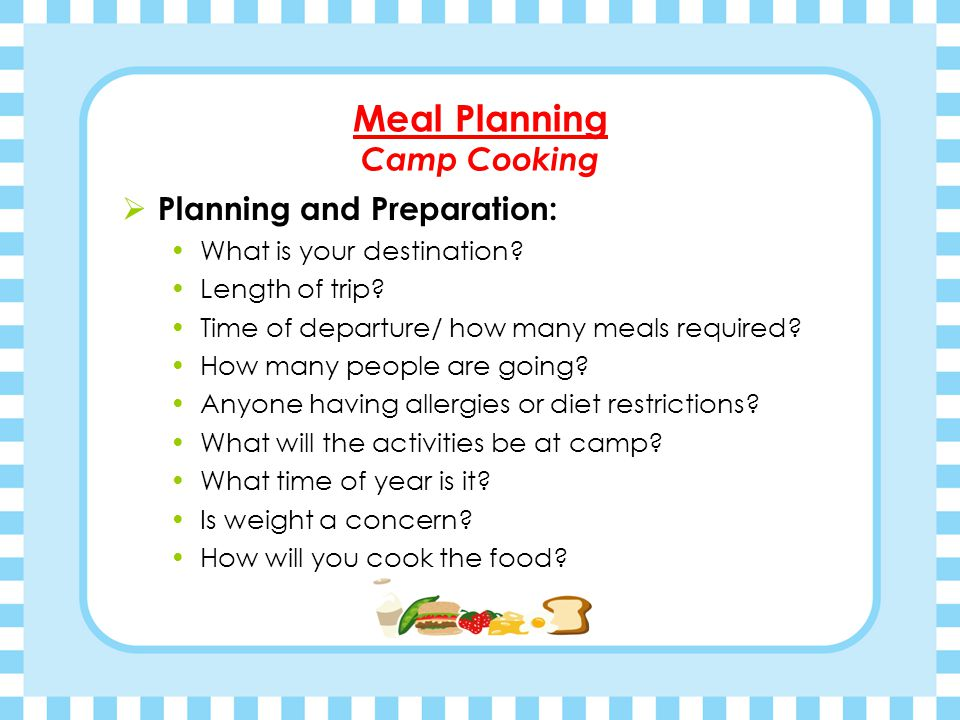 Meal Planning Camp Cooking