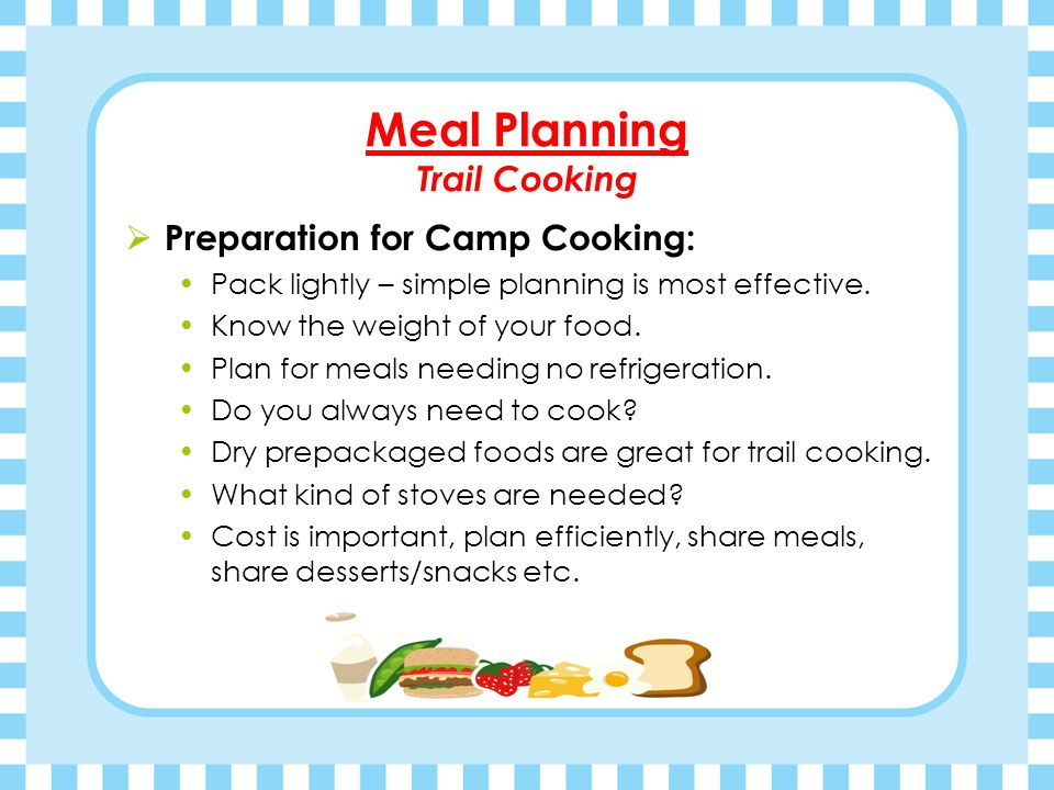 Meal Planning Trail Cooking