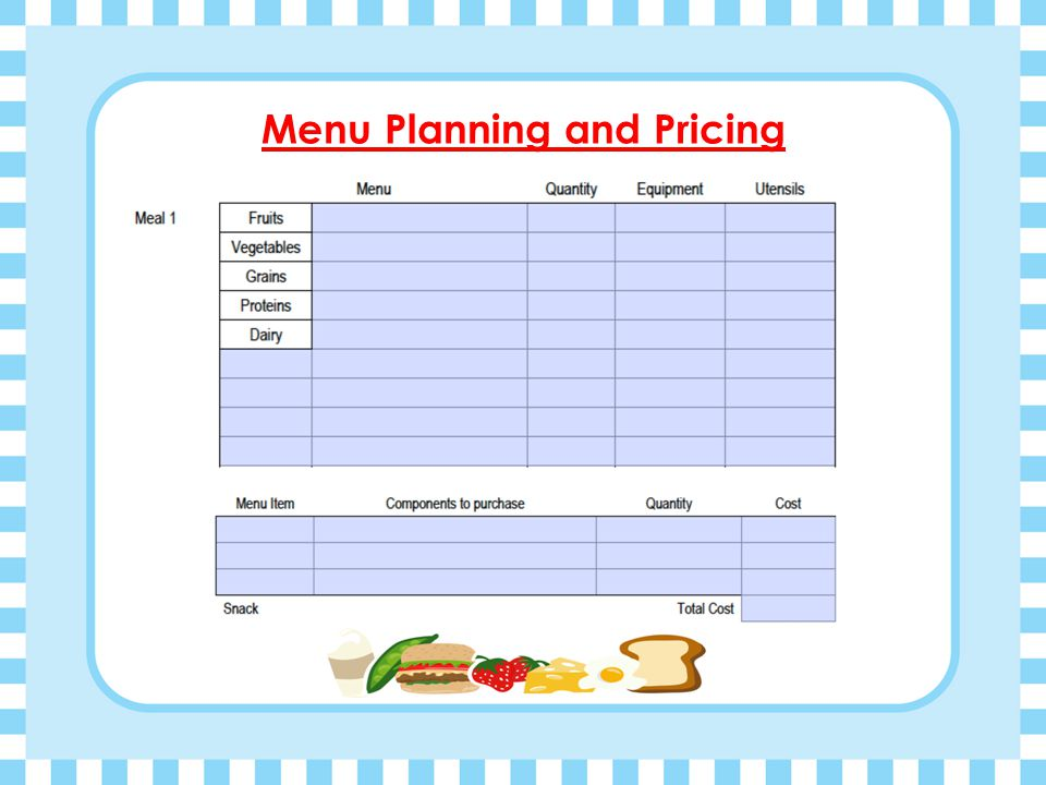 Menu Planning and Pricing