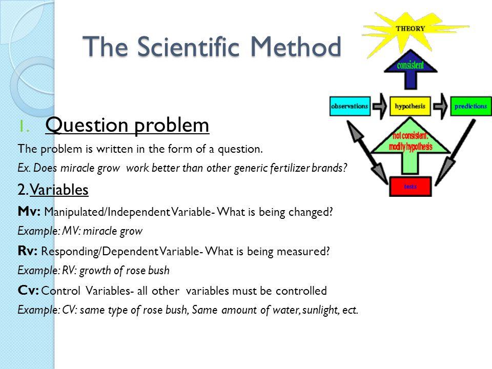 The Scientific Method Question problem 2. Variables