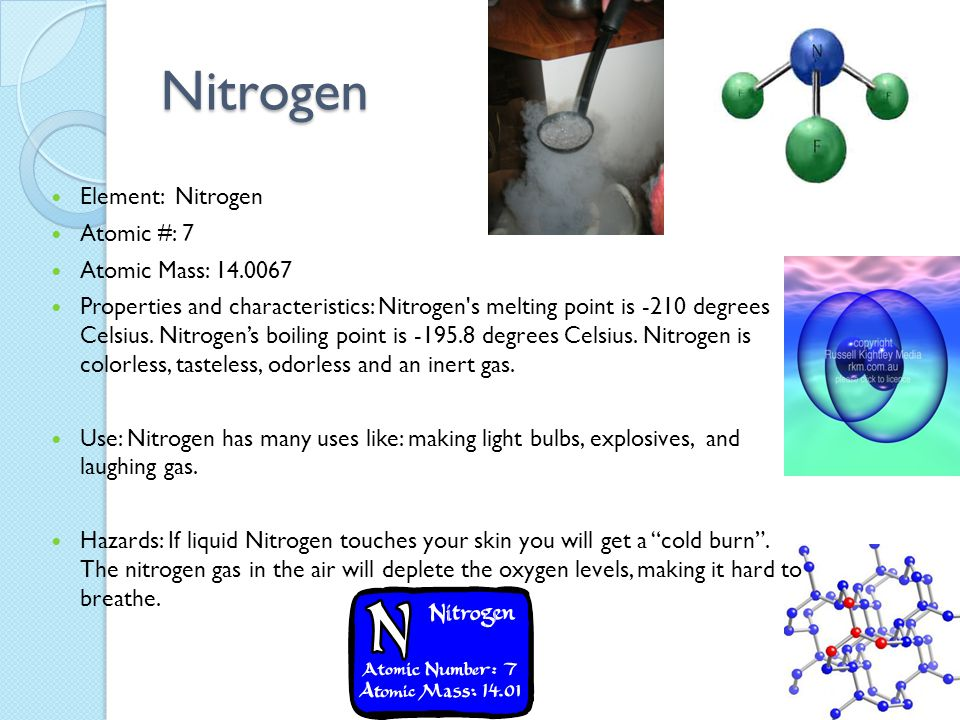 Nitrogen Element: Nitrogen Atomic #: 7 Atomic Mass: 14.0067