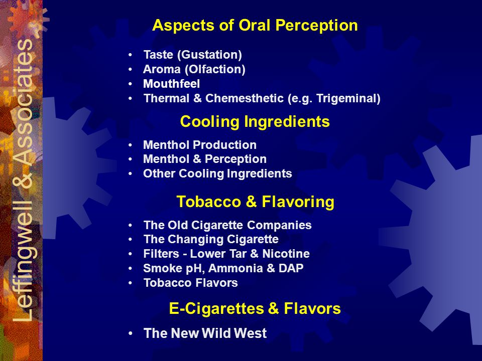 Aspects of Oral Perception E-Cigarettes & Flavors