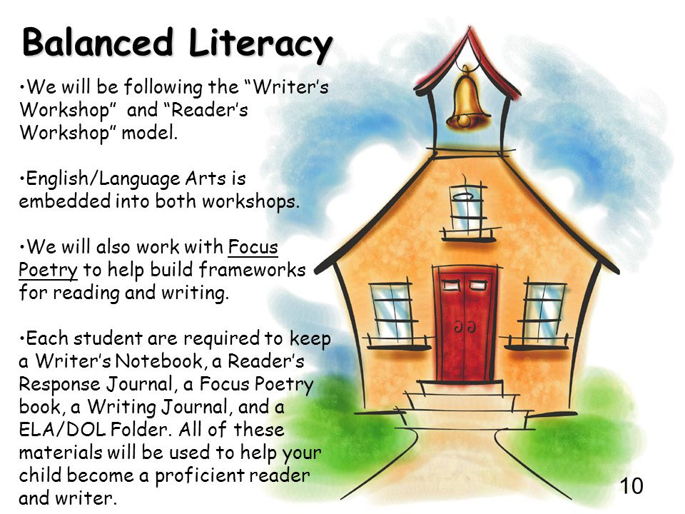 Balanced Literacy We will be following the Writer's Workshop and Reader's Workshop model.