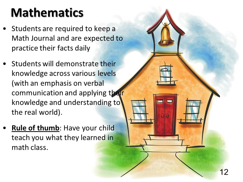 Mathematics Students are required to keep a Math Journal and are expected to practice their facts daily.