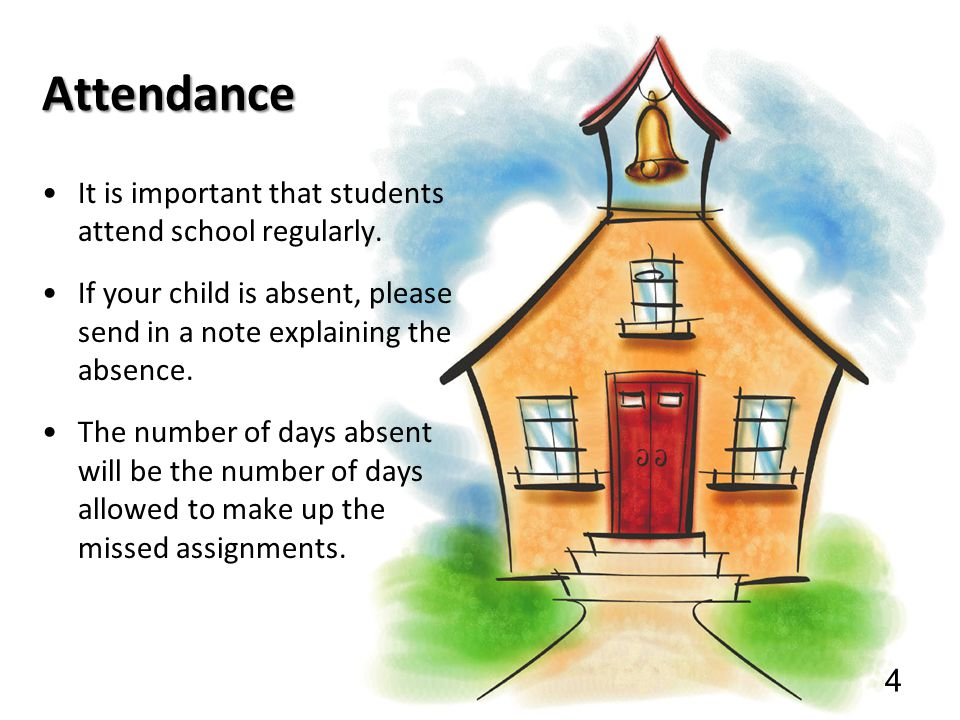 Attendance It is important that students attend school regularly.