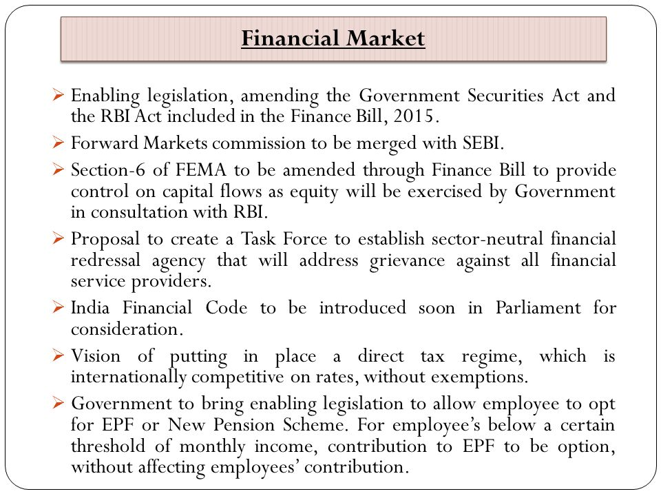 Financial Market Enabling legislation, amending the Government Securities Act and the RBI Act included in the Finance Bill, 2015.