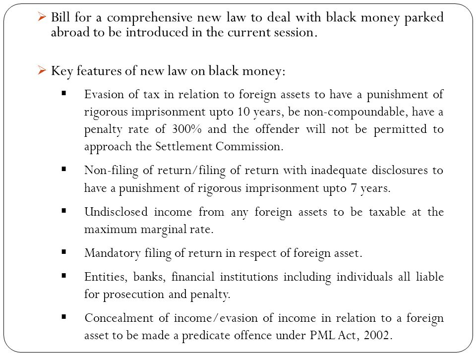 Key features of new law on black money: