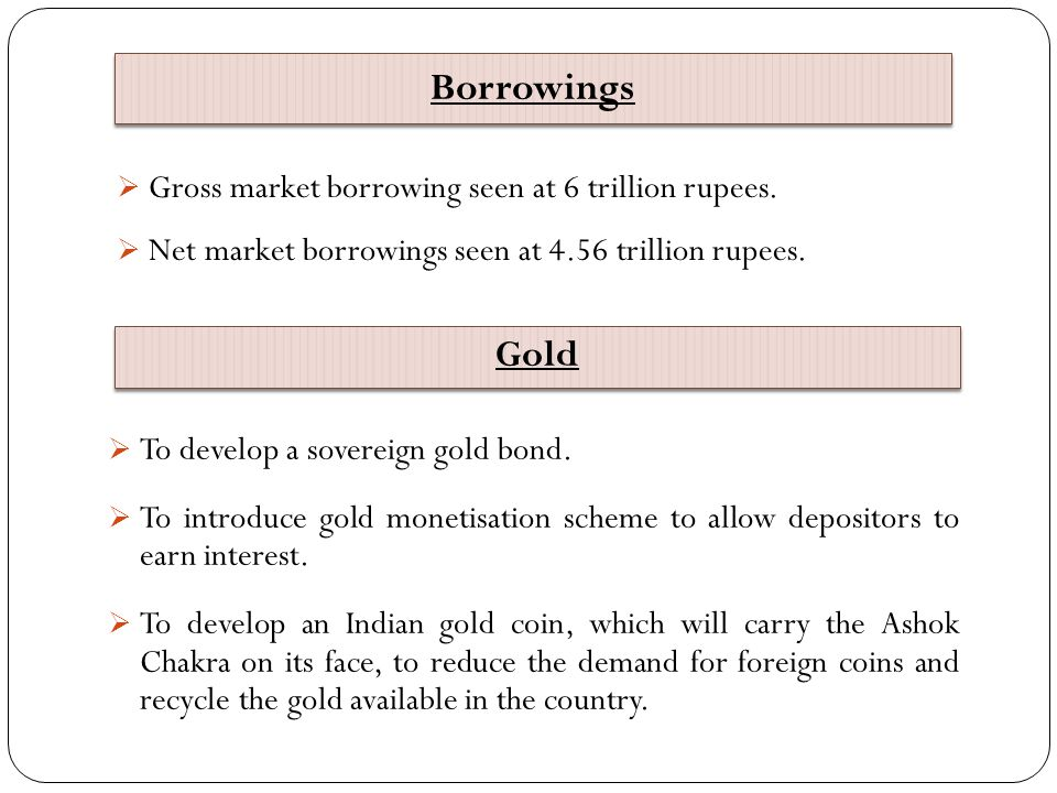 Borrowings Gold Gross market borrowing seen at 6 trillion rupees.