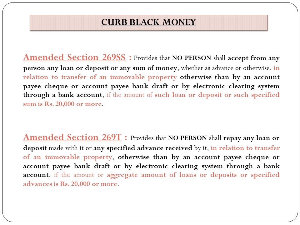 CURB BLACK MONEY