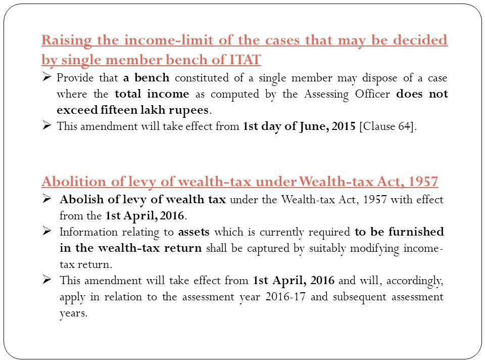 Abolition of levy of wealth-tax under Wealth-tax Act, 1957
