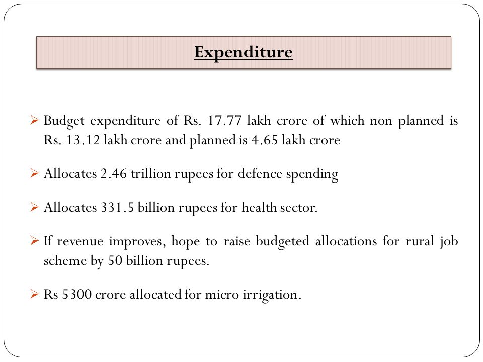 Expenditure Budget expenditure of Rs. 17.77 lakh crore of which non planned is Rs. 13.12 lakh crore and planned is 4.65 lakh crore.